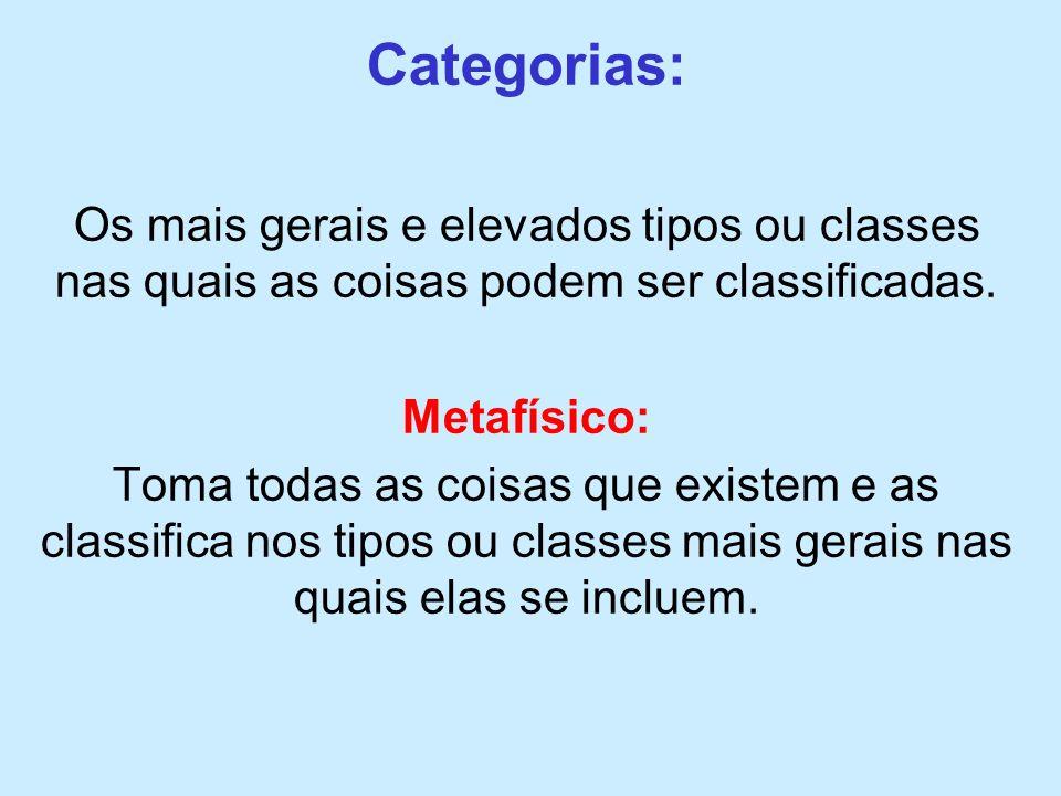 Categorias: Os mais gerais e elevados tipos ou classes nas quais as coisas podem ser classificadas.