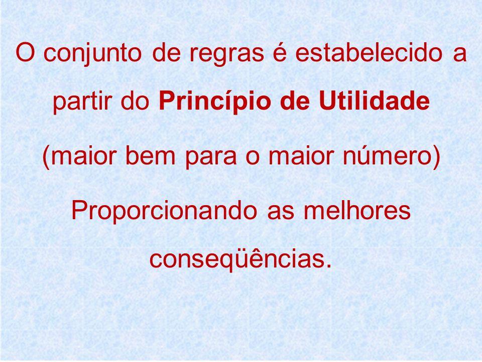 O conjunto de regras é estabelecido a partir do Princípio de Utilidade