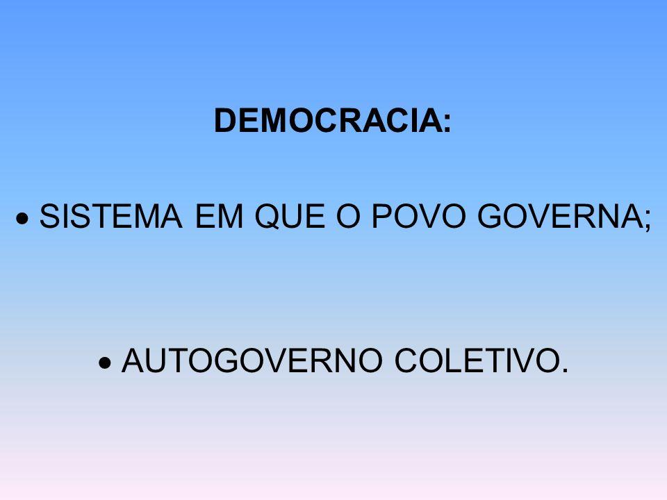 DEMOCRACIA:  SISTEMA EM QUE O POVO GOVERNA;  AUTOGOVERNO COLETIVO.