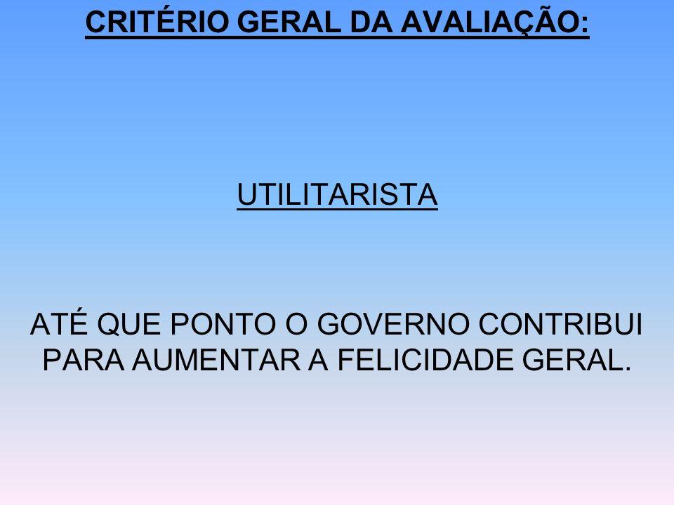 CRITÉRIO GERAL DA AVALIAÇÃO: