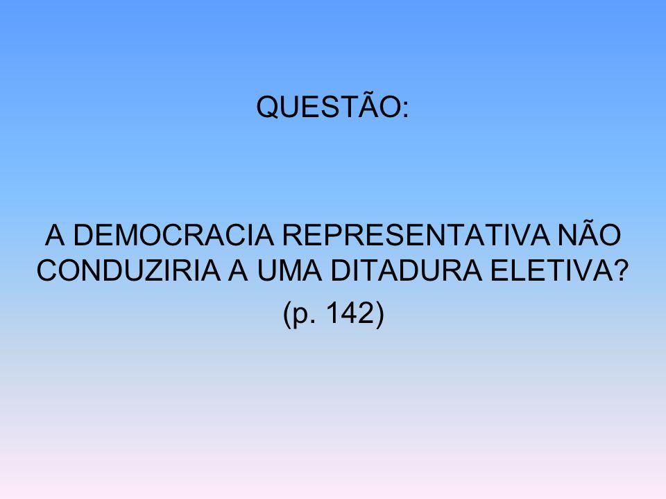 A DEMOCRACIA REPRESENTATIVA NÃO CONDUZIRIA A UMA DITADURA ELETIVA