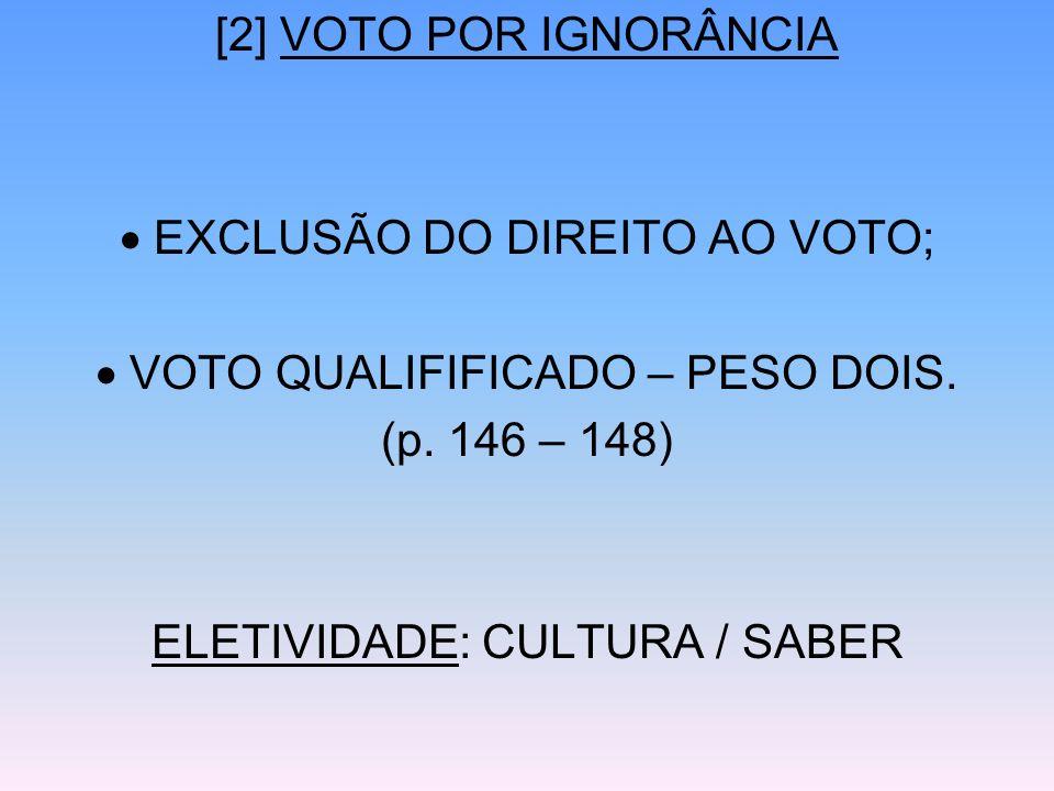  EXCLUSÃO DO DIREITO AO VOTO;  VOTO QUALIFIFICADO – PESO DOIS.