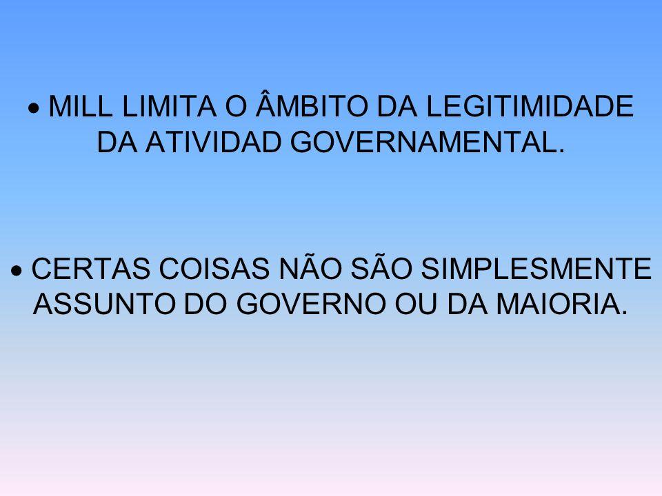  MILL LIMITA O ÂMBITO DA LEGITIMIDADE DA ATIVIDAD GOVERNAMENTAL.