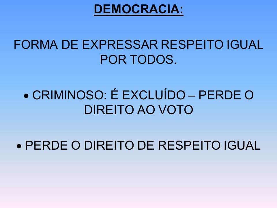 FORMA DE EXPRESSAR RESPEITO IGUAL POR TODOS.