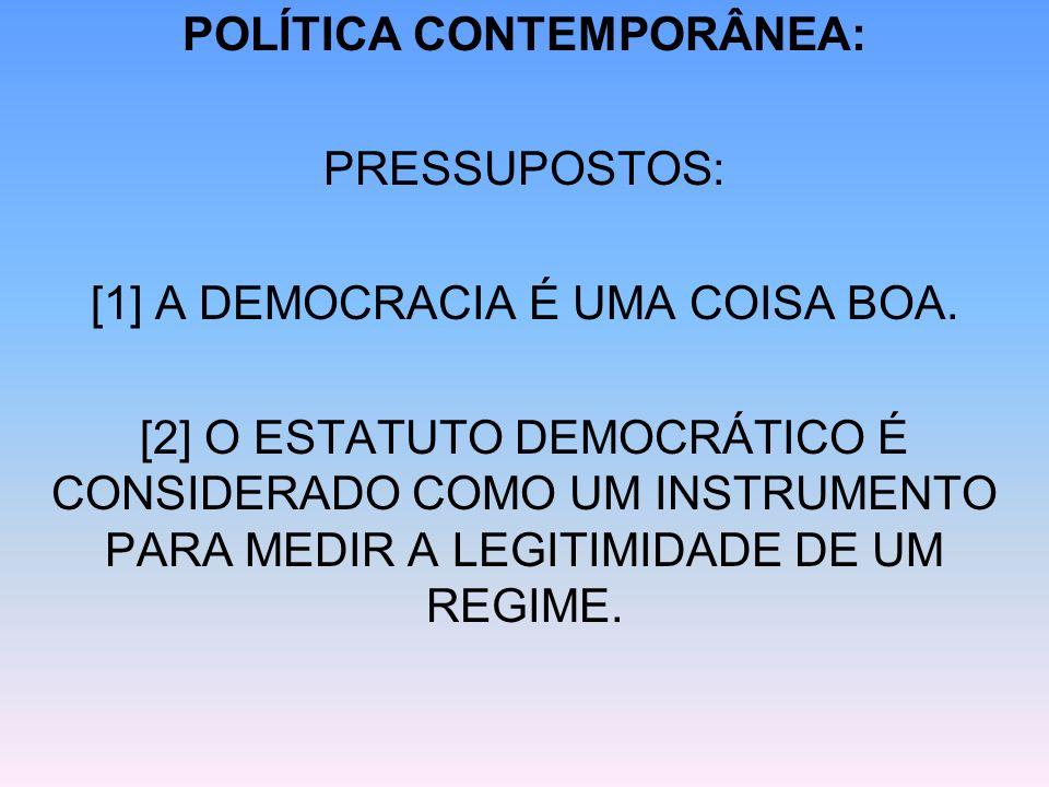 POLÍTICA CONTEMPORÂNEA: PRESSUPOSTOS: