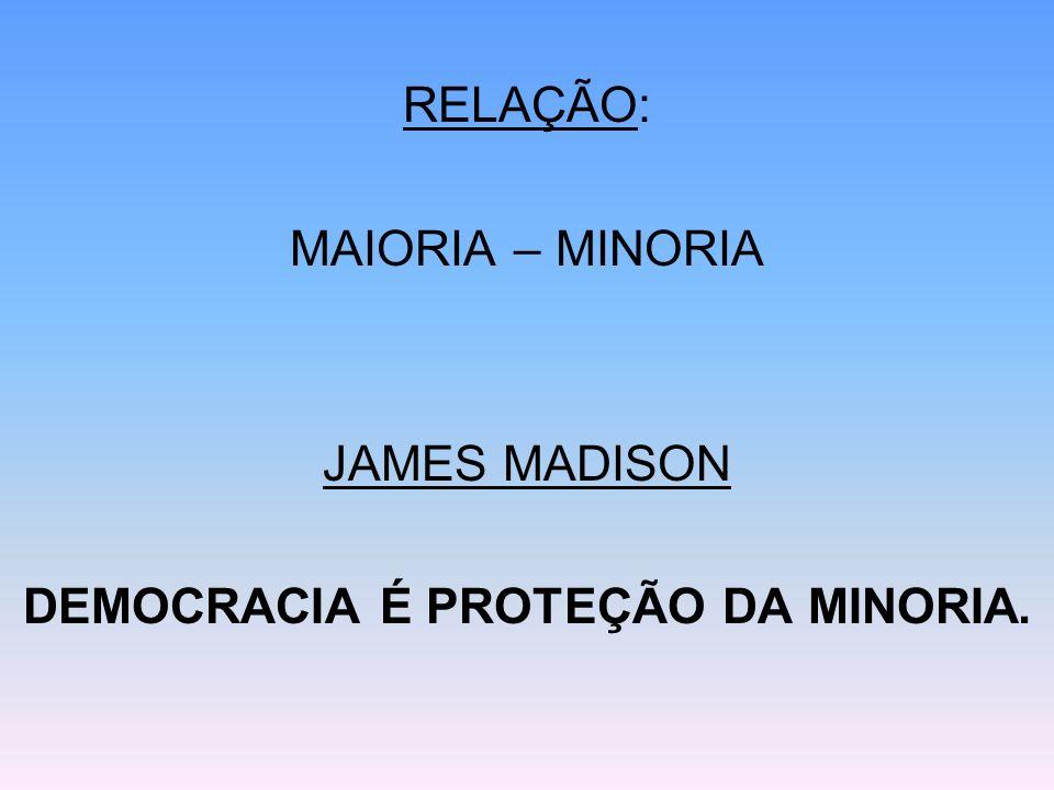 DEMOCRACIA É PROTEÇÃO DA MINORIA.