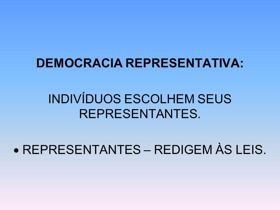 DEMOCRACIA REPRESENTATIVA: INDIVÍDUOS ESCOLHEM SEUS REPRESENTANTES.