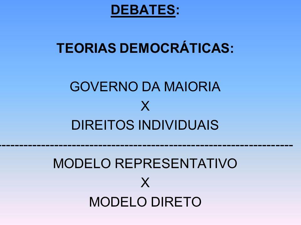 TEORIAS DEMOCRÁTICAS: GOVERNO DA MAIORIA X DIREITOS INDIVIDUAIS