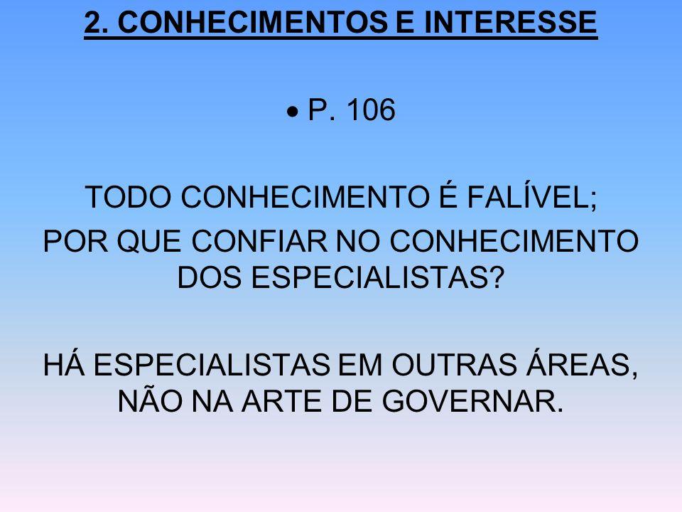 2. CONHECIMENTOS E INTERESSE  P. 106 TODO CONHECIMENTO É FALÍVEL;