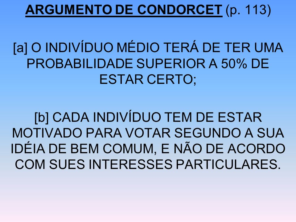ARGUMENTO DE CONDORCET (p. 113)