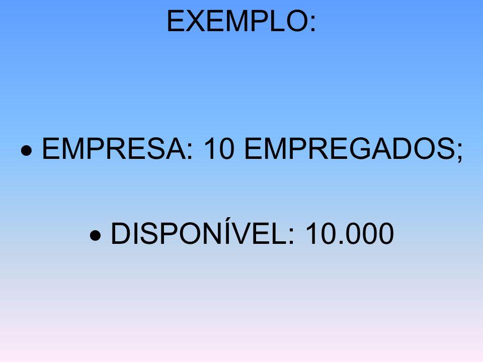 EXEMPLO:  EMPRESA: 10 EMPREGADOS;  DISPONÍVEL: 10.000