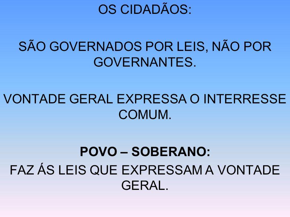SÃO GOVERNADOS POR LEIS, NÃO POR GOVERNANTES.