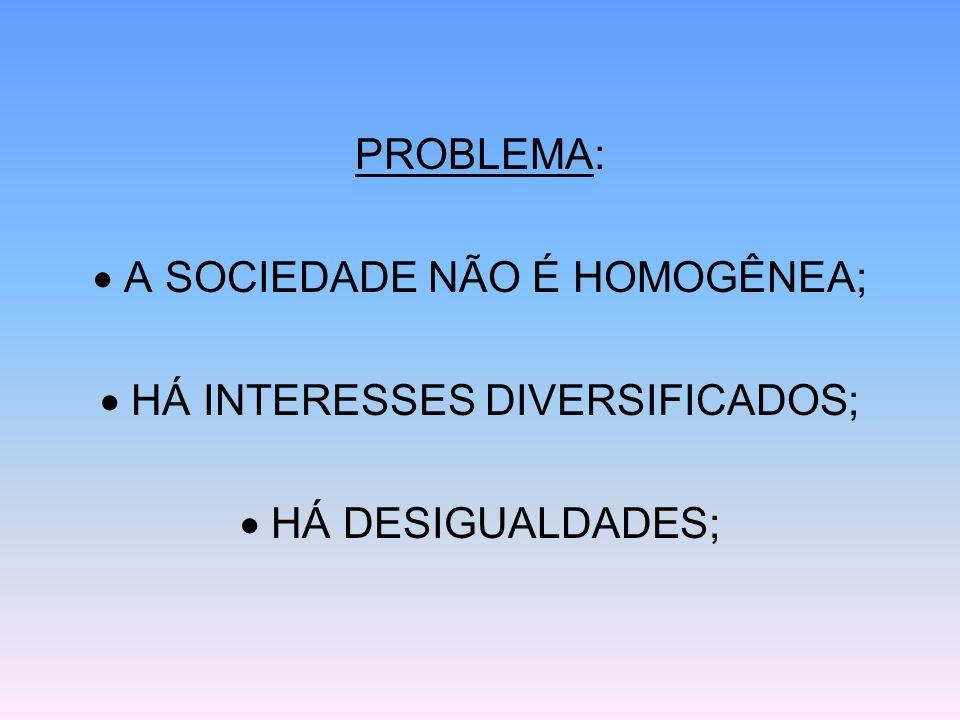  A SOCIEDADE NÃO É HOMOGÊNEA;  HÁ INTERESSES DIVERSIFICADOS;