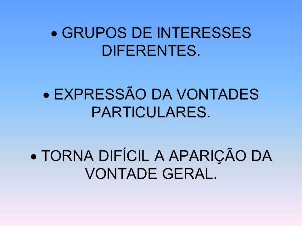  GRUPOS DE INTERESSES DIFERENTES.