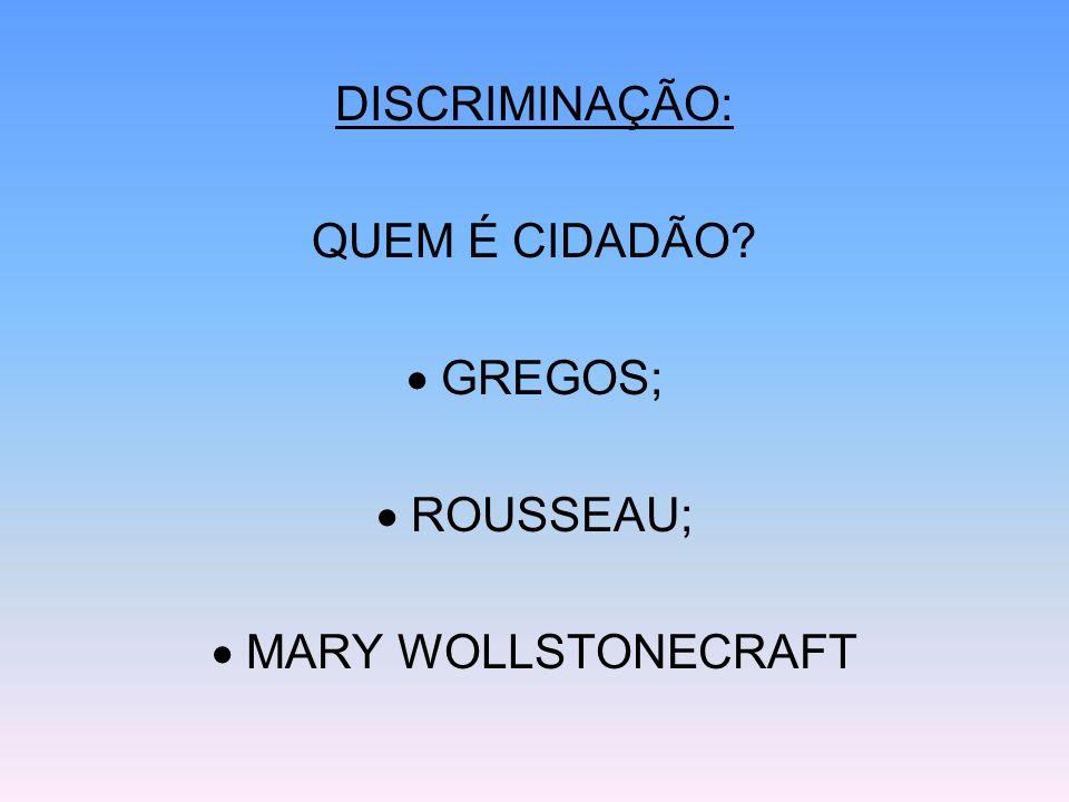 DISCRIMINAÇÃO: QUEM É CIDADÃO  GREGOS;  ROUSSEAU;  MARY WOLLSTONECRAFT