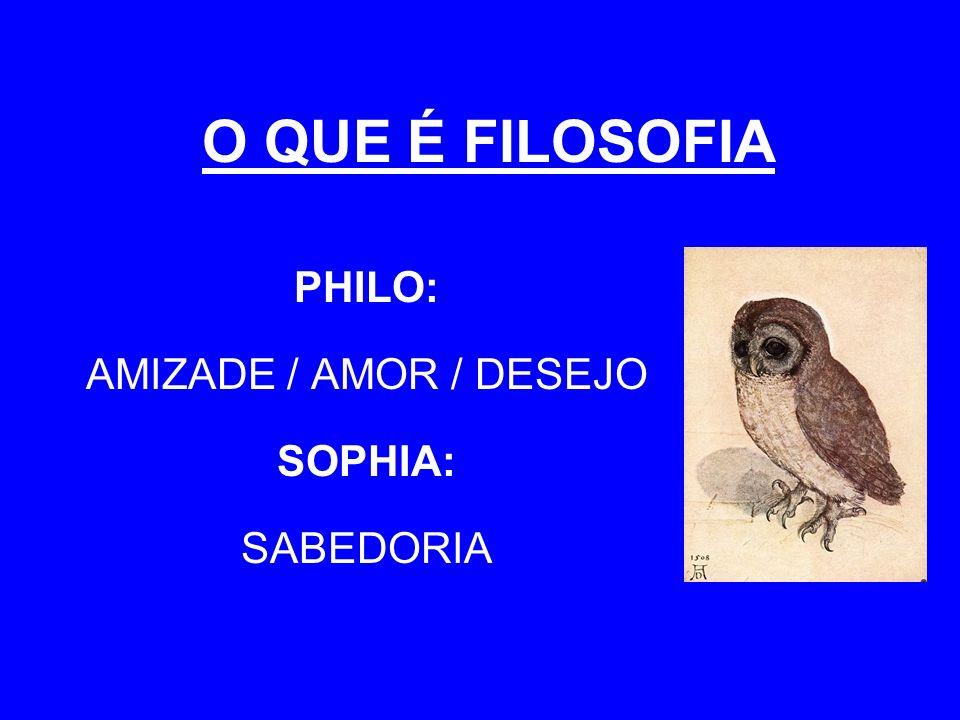 PHILO: AMIZADE / AMOR / DESEJO SOPHIA: SABEDORIA