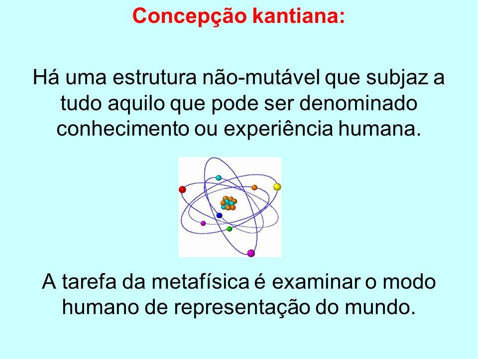 Concepção kantiana: Há uma estrutura não-mutável que subjaz a tudo aquilo que pode ser denominado conhecimento ou experiência humana.