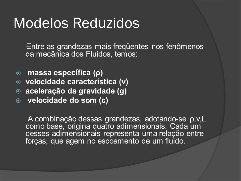 Modelos Reduzidos Entre as grandezas mais freqüentes nos fenômenos da mecânica dos Fluidos, temos: massa específica (ρ)