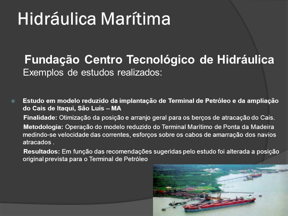 Hidráulica Marítima Fundação Centro Tecnológico de Hidráulica Exemplos de estudos realizados: