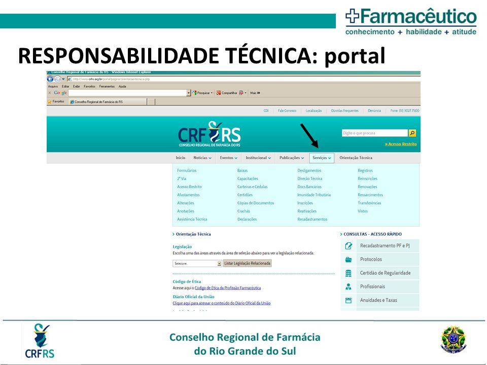 RESPONSABILIDADE TÉCNICA: portal