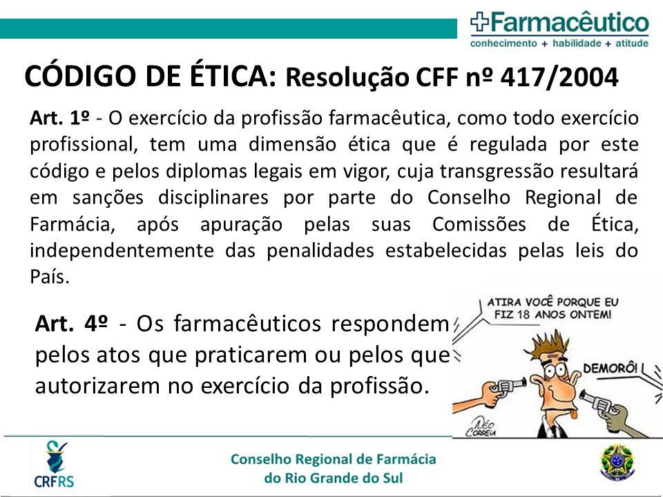 CÓDIGO DE ÉTICA: Resolução CFF nº 417/2004