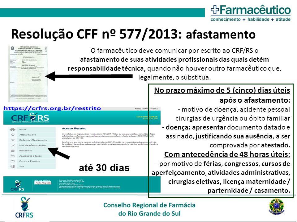 O farmacêutico deve comunicar por escrito ao CRF/RS o