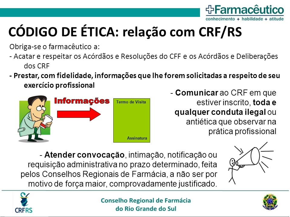 CÓDIGO DE ÉTICA: relação com CRF/RS