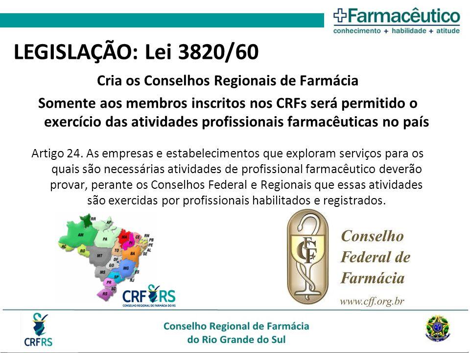 Cria os Conselhos Regionais de Farmácia