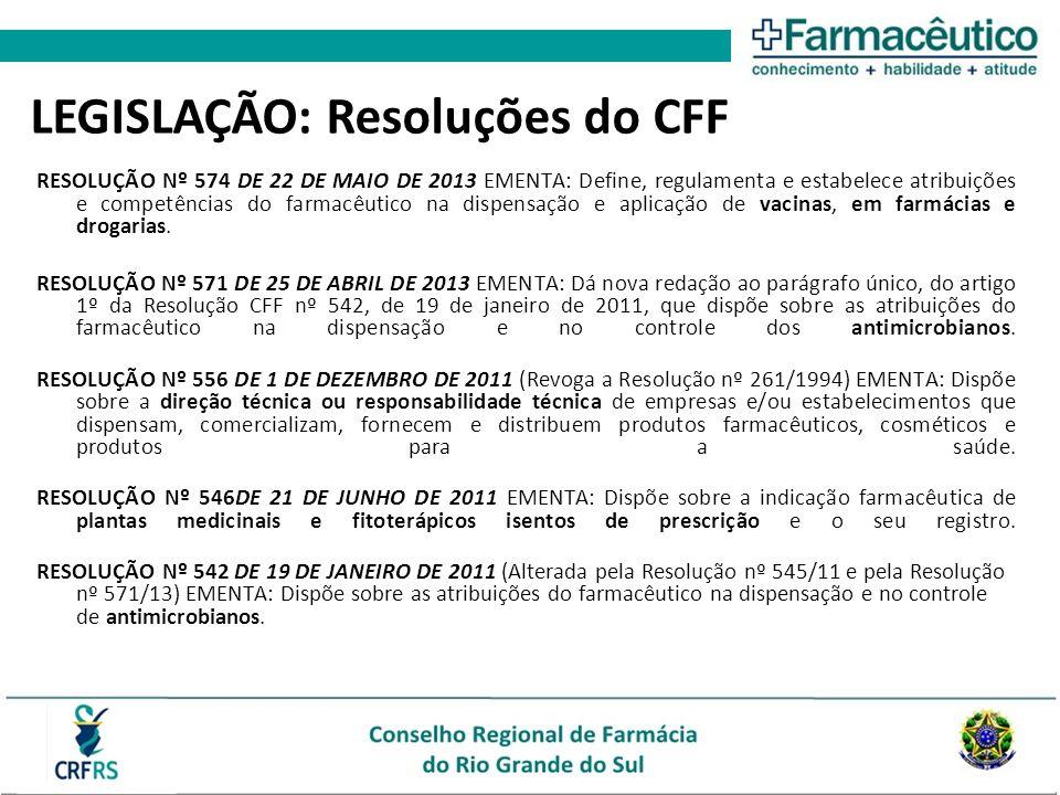 LEGISLAÇÃO: Resoluções do CFF