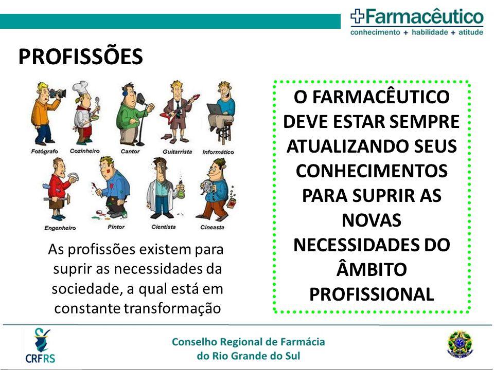 PROFISSÕES O FARMACÊUTICO DEVE ESTAR SEMPRE ATUALIZANDO SEUS CONHECIMENTOS PARA SUPRIR AS NOVAS NECESSIDADES DO ÂMBITO PROFISSIONAL.