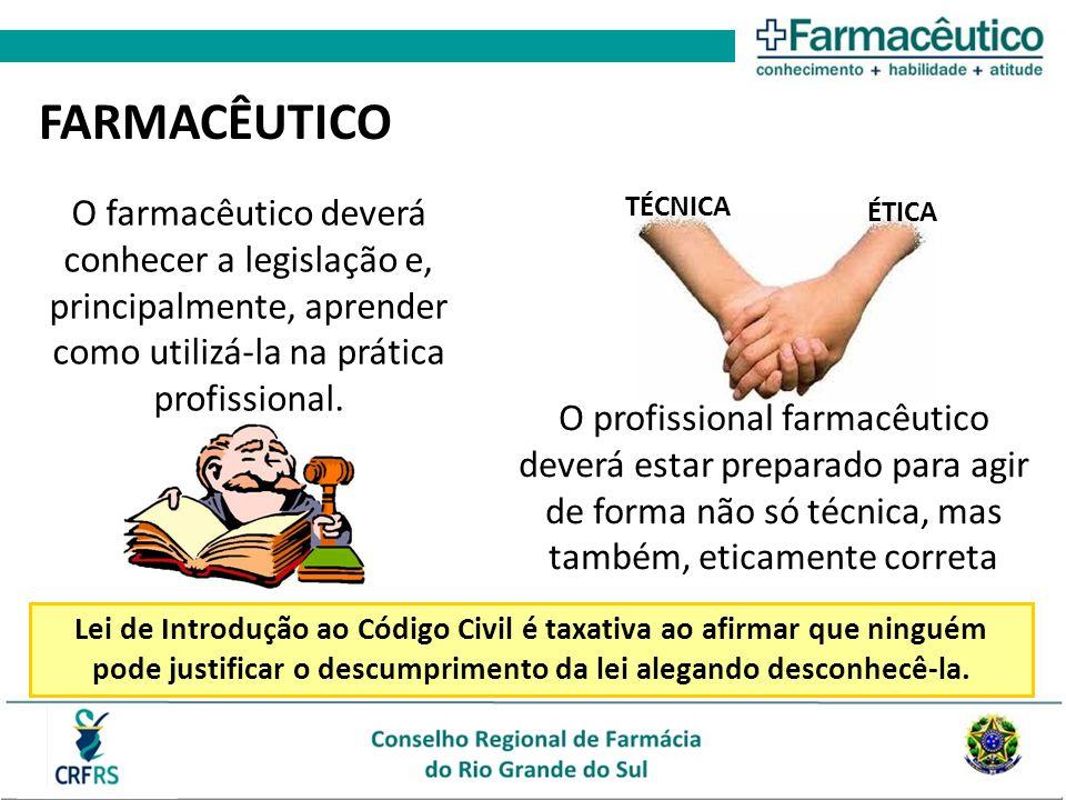 FARMACÊUTICO O farmacêutico deverá conhecer a legislação e, principalmente, aprender como utilizá-la na prática profissional.
