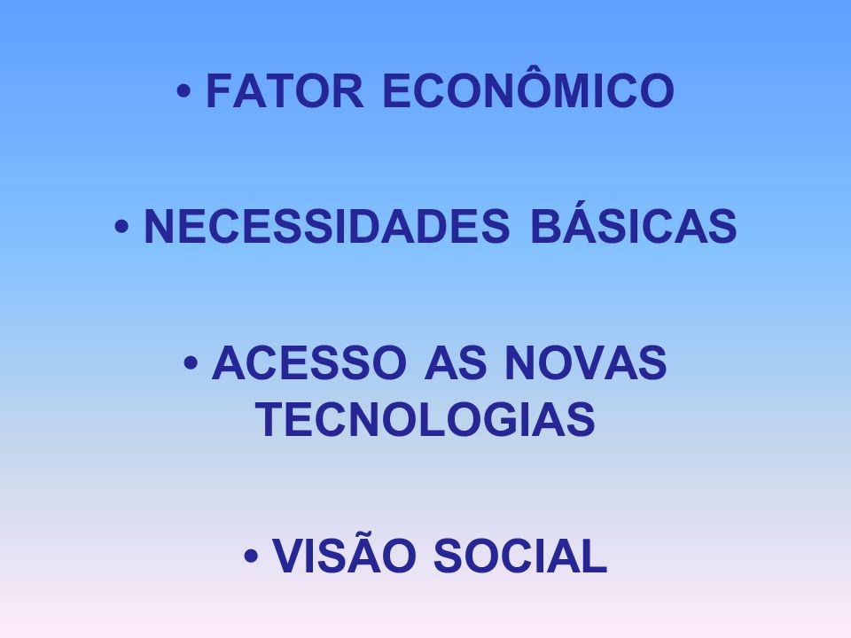 • NECESSIDADES BÁSICAS • ACESSO AS NOVAS TECNOLOGIAS