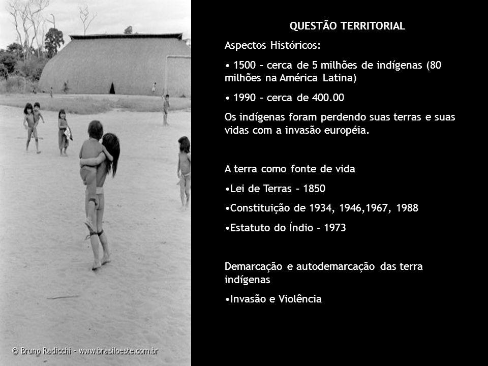 QUESTÃO TERRITORIAL Aspectos Históricos: 1500 – cerca de 5 milhões de indígenas (80 milhões na América Latina)