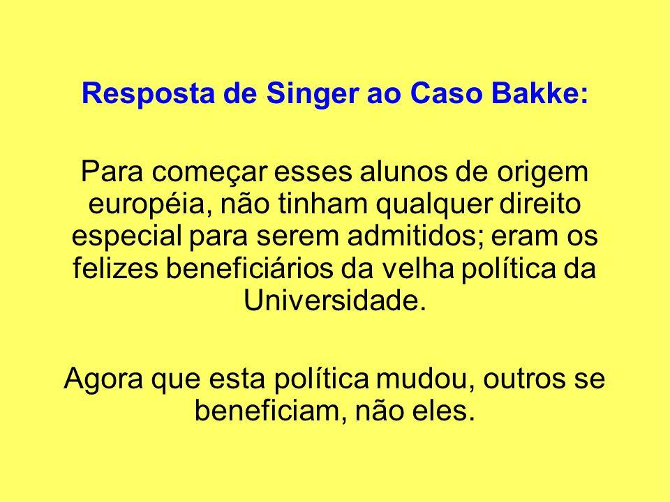 Resposta de Singer ao Caso Bakke: