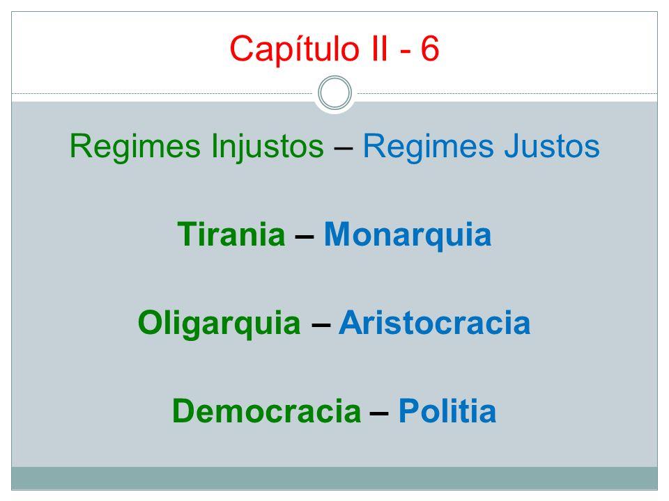 Capítulo II - 6 Regimes Injustos – Regimes Justos Tirania – Monarquia Oligarquia – Aristocracia Democracia – Politia