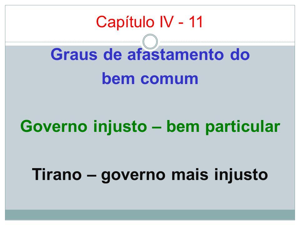 Capítulo IV - 11Graus de afastamento do bem comum Governo injusto – bem particular Tirano – governo mais injusto