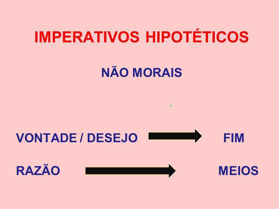 IMPERATIVOS HIPOTÉTICOS NÃO MORAIS VONTADE / DESEJO FIM RAZÃO MEIOS