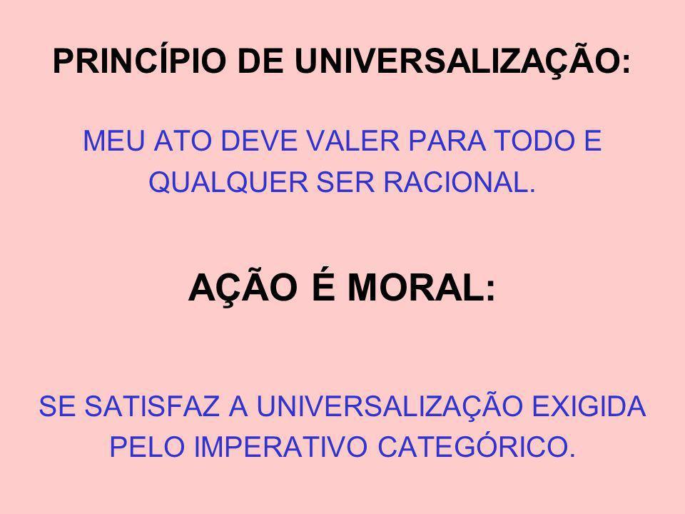 PRINCÍPIO DE UNIVERSALIZAÇÃO:
