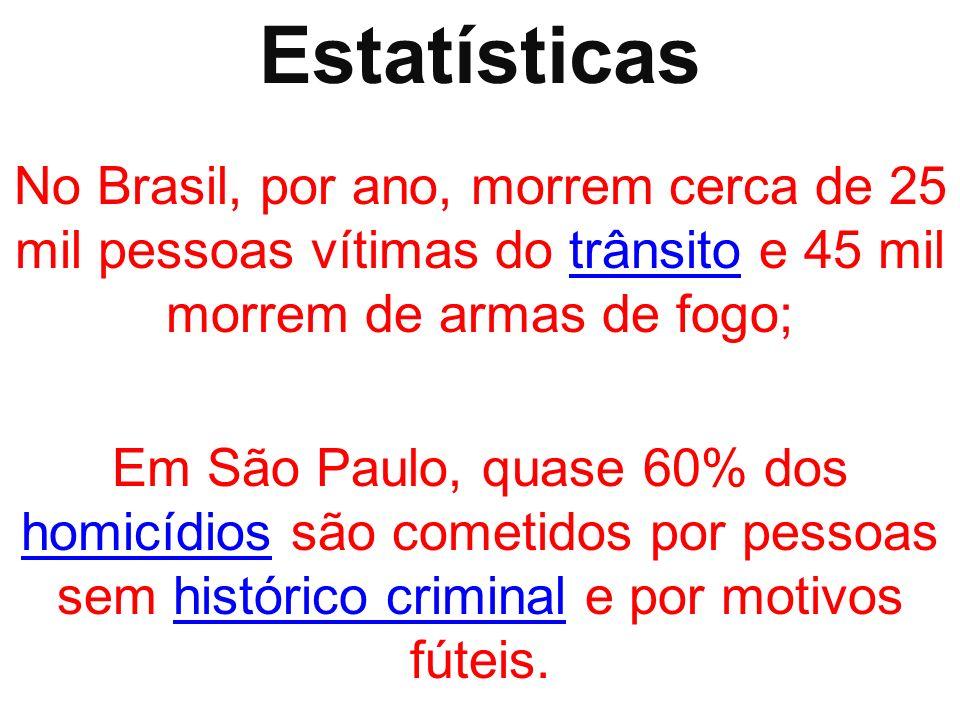 Estatísticas No Brasil, por ano, morrem cerca de 25 mil pessoas vítimas do trânsito e 45 mil morrem de armas de fogo;