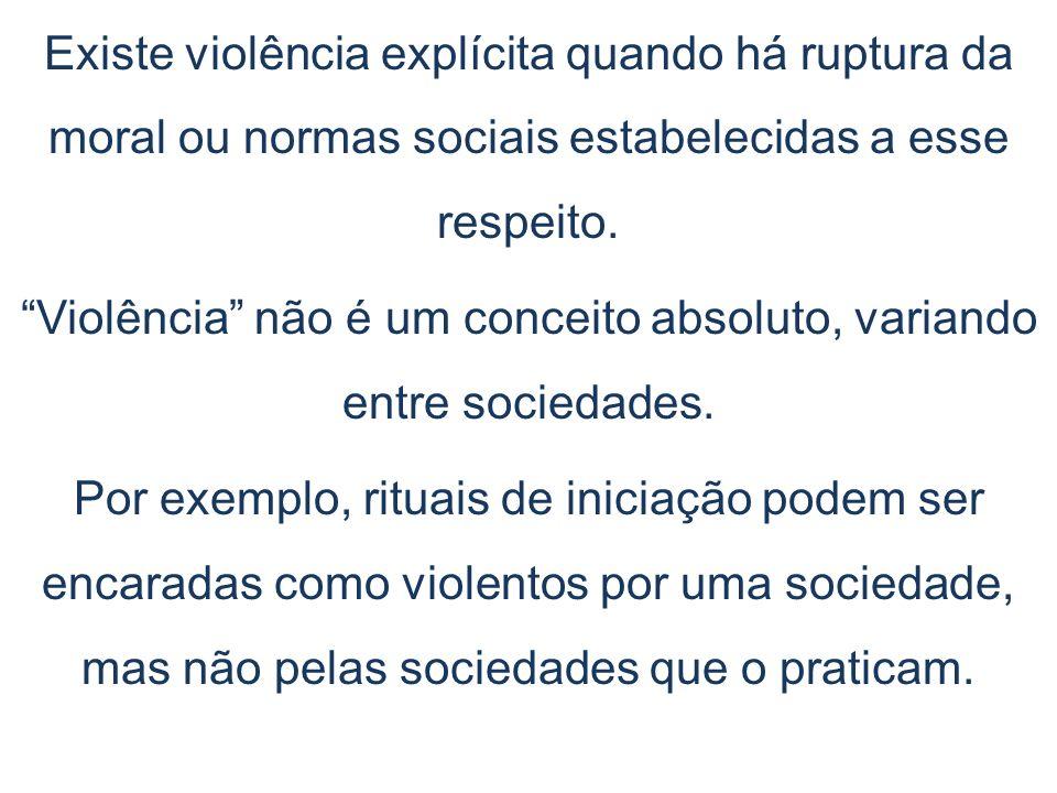 Violência não é um conceito absoluto, variando entre sociedades.