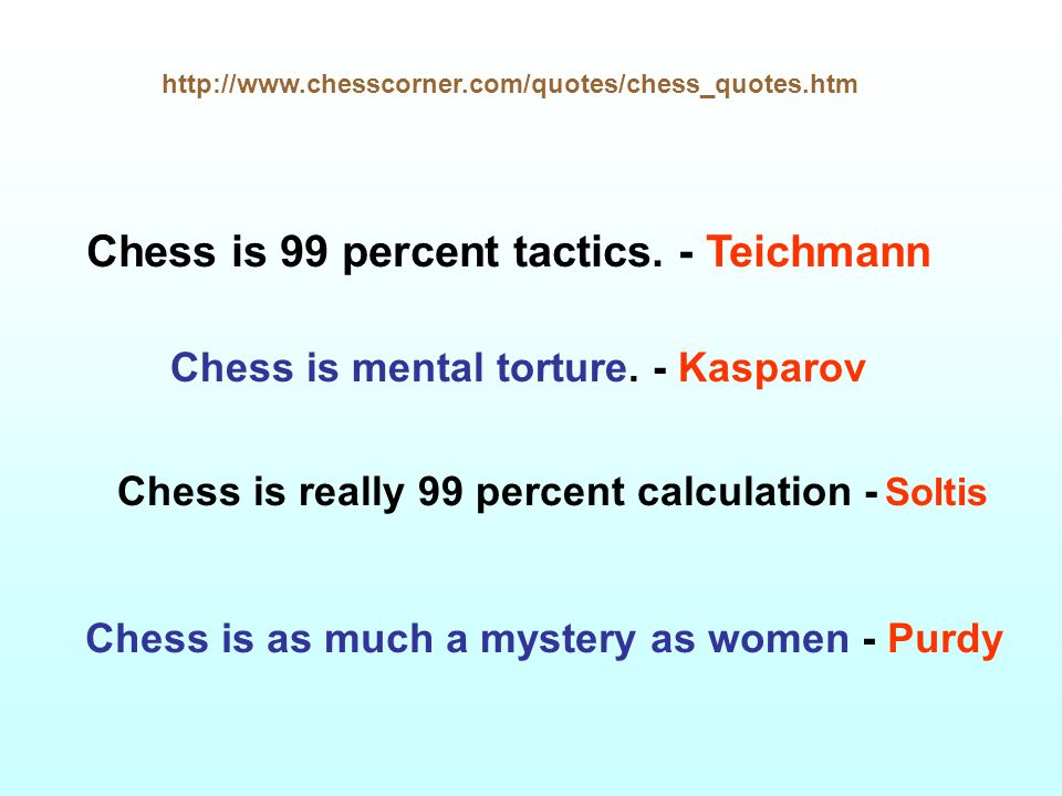 Chess is 99 percent tactics. - Teichmann
