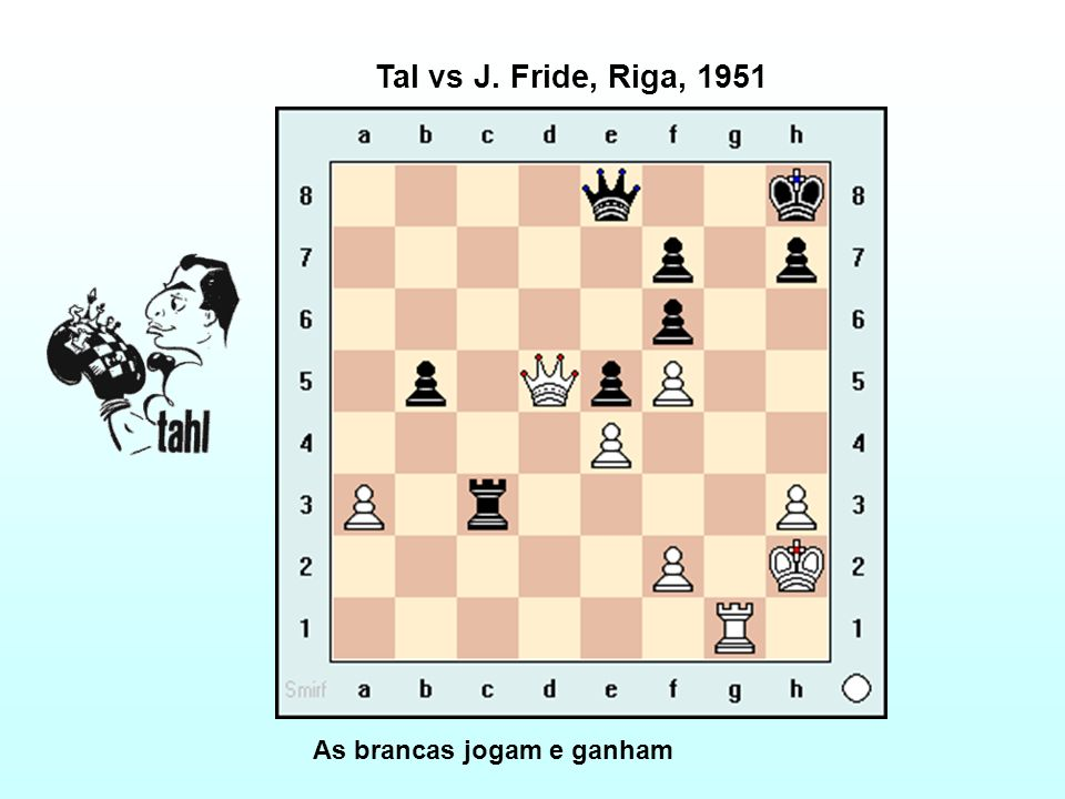 Tal vs J. Fride, Riga, 1951 As brancas jogam e ganham