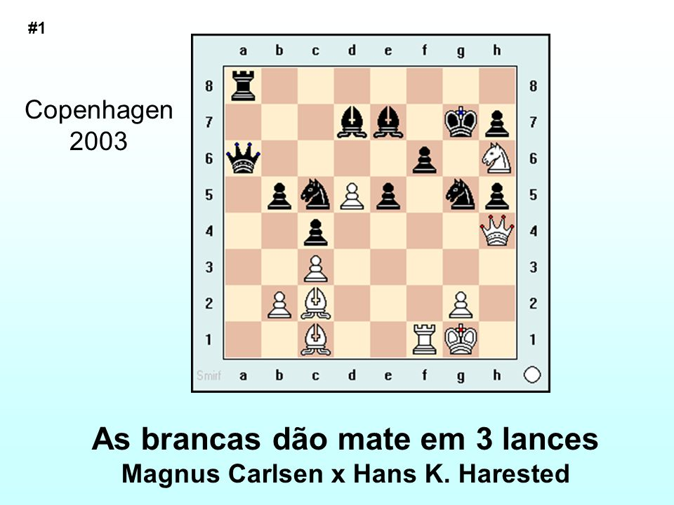 As brancas dão mate em 3 lances Magnus Carlsen x Hans K. Harested