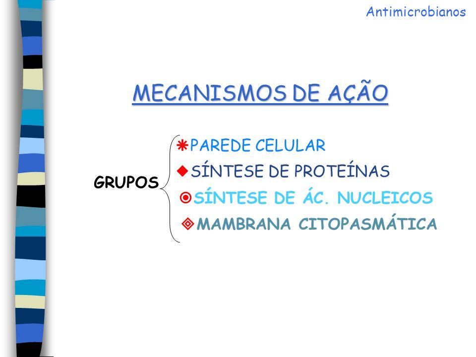 MECANISMOS DE AÇÃO PAREDE CELULAR SÍNTESE DE PROTEÍNAS GRUPOS