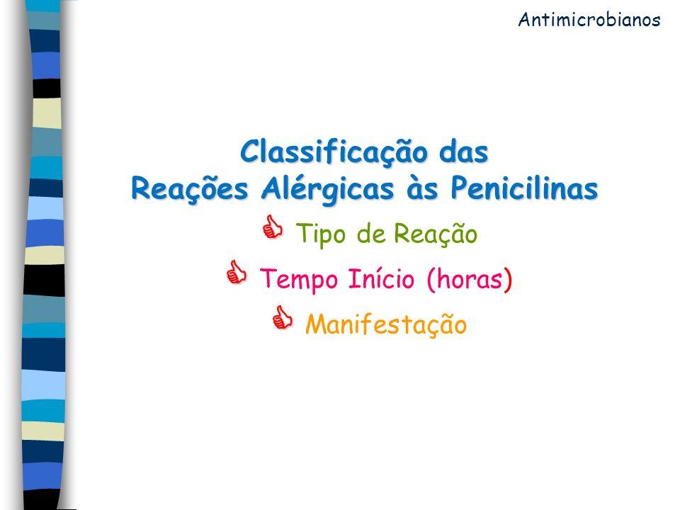 Antimicrobianos Classificação das Reações Alérgicas às Penicilinas  Tipo de Reação  Tempo Início (horas)  Manifestação.