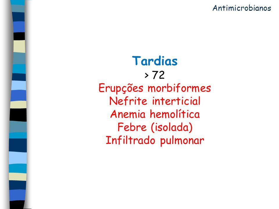 Antimicrobianos Tardias > 72 Erupções morbiformes Nefrite interticial Anemia hemolítica Febre (isolada) Infiltrado pulmonar.