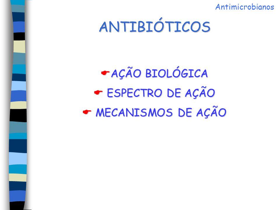 ANTIBIÓTICOS AÇÃO BIOLÓGICA  ESPECTRO DE AÇÃO  MECANISMOS DE AÇÃO