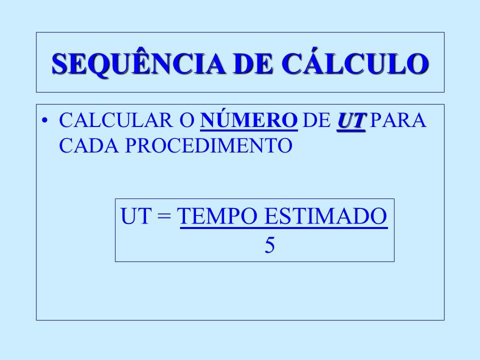 SEQUÊNCIA DE CÁLCULO UT = TEMPO ESTIMADO 5