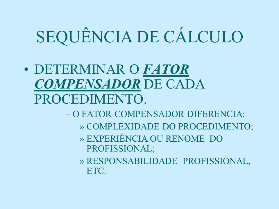 SEQUÊNCIA DE CÁLCULO DETERMINAR O FATOR COMPENSADOR DE CADA PROCEDIMENTO. O FATOR COMPENSADOR DIFERENCIA: