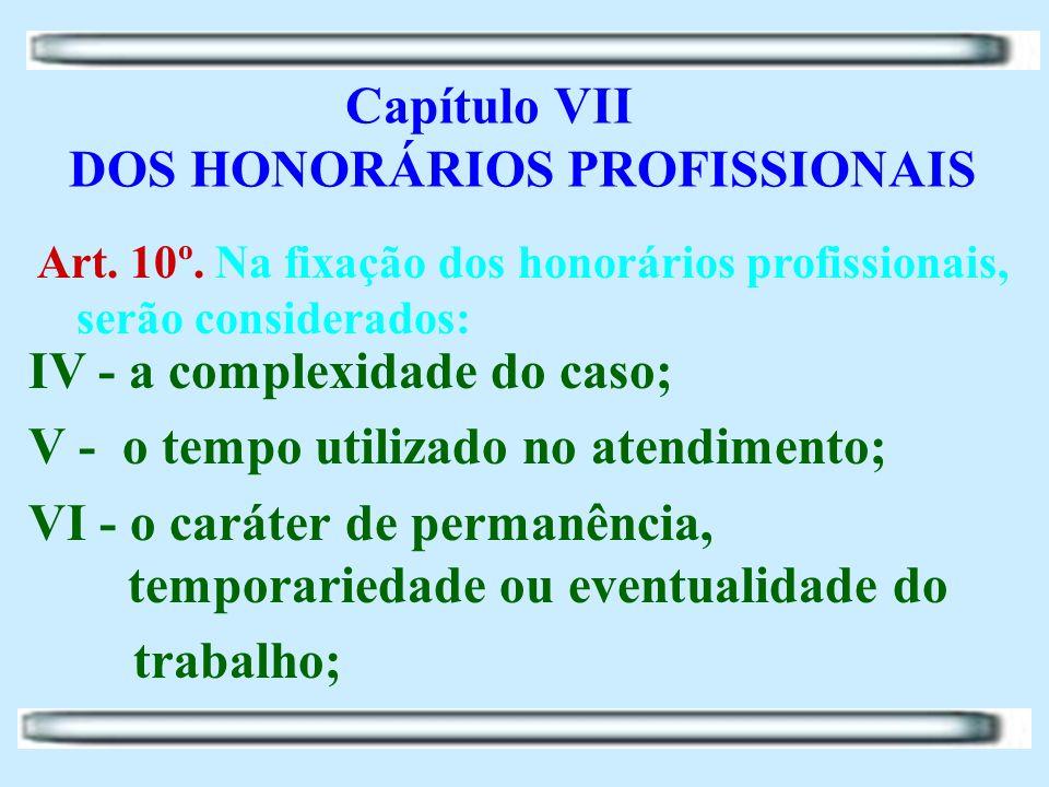 Capítulo VII DOS HONORÁRIOS PROFISSIONAIS